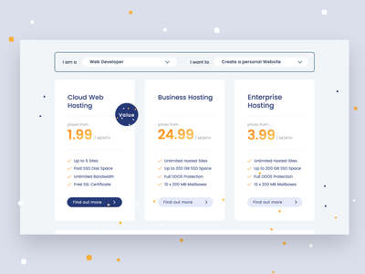 Hosting Project #2 bright minimal pattern package dropdown modal prices blue and yellow webhosting hosting