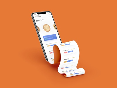Long-scroll paper adobe photoshop xd design concept delivery pizza iphone ui ux modern realistic mockup fred sosa mobile food app long-scroll