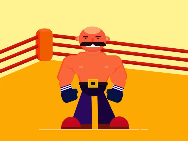 Fighter sports design challenge fighter boxing graphic flatdesign creative design ui art direction illustration flat