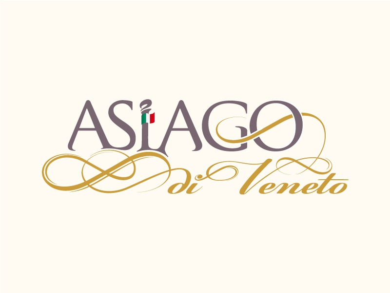 Asiago di Veneto - Premium Italian cheese italy italian premium cheese vector typography grey gold flag asiago veneto decorative elements