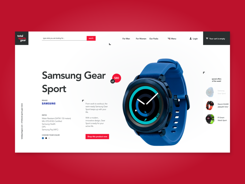 Sport Gear Store photoshop store adobexd web design ui