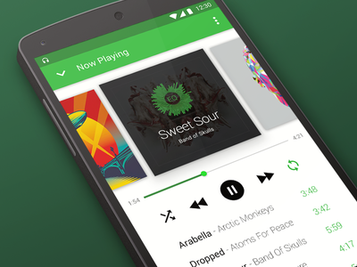 Android L Music Player android material audio music player 12rockets android l material design