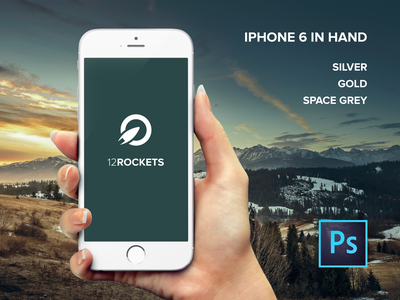 FREE: iPhone 6 in hand PSD mockup free psd in hand mockup template silver gold iphone 6 space grey high resolution front facing 12rockets