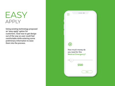Screenshot of easy apply app ux branding fintech