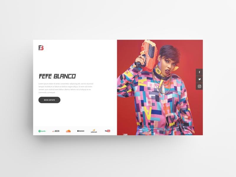 Artiste Landing Page Design