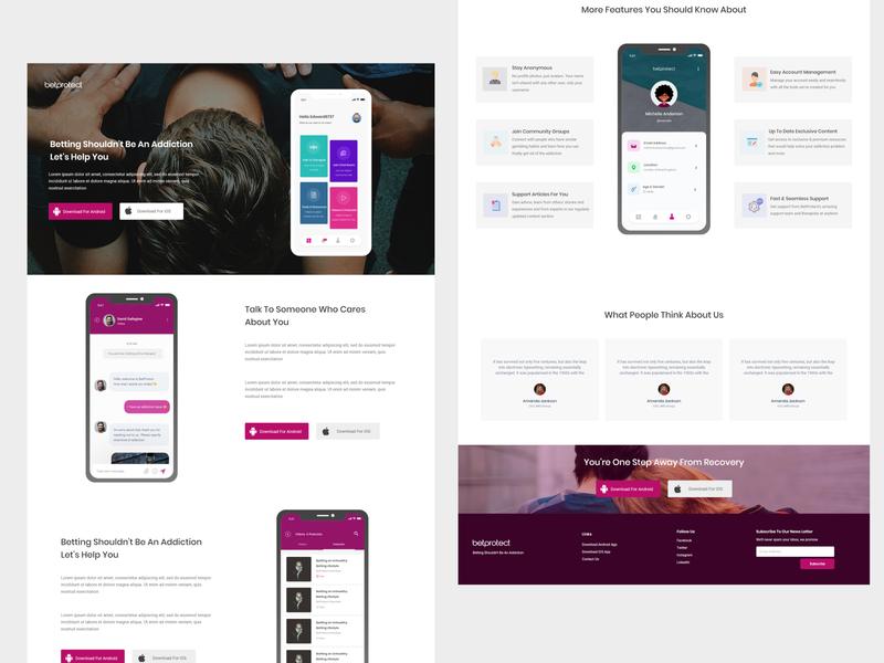 BetProtect App Landing Page social landing page ui landing page uid web uxui ux ui design dailui