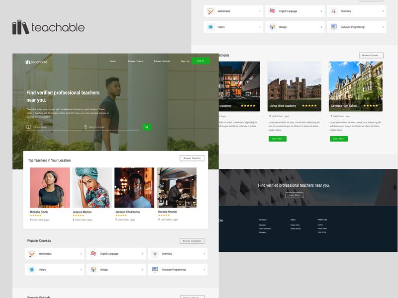 Teachable - Landing Page Design learn elearning education social landing page ui landing page uid web uxui ux ui design dailui
