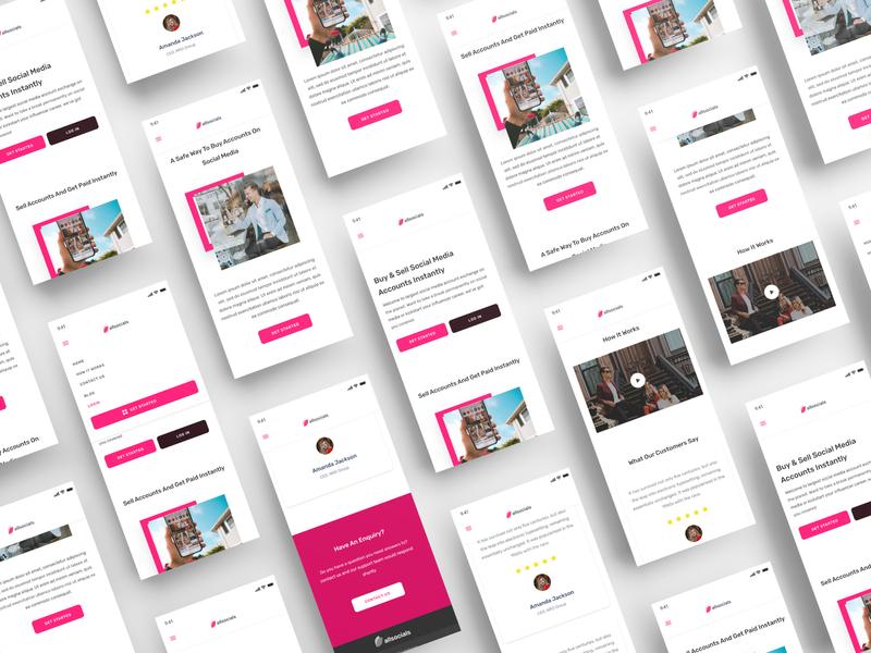AllSocials - A Social Media Exchange Platform (Mobile) v1 android landing page ui landing page uid web uxui ux ui design dailui