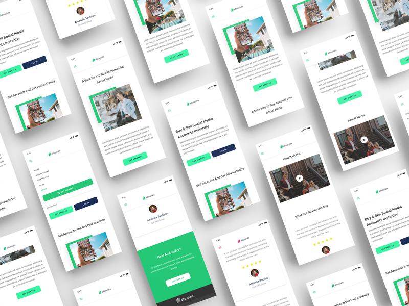 AllSocials - A Social Media Exchange Platform (Mobile) v2 ios android social landing page ui landing page uid web uxui ux ui design dailui