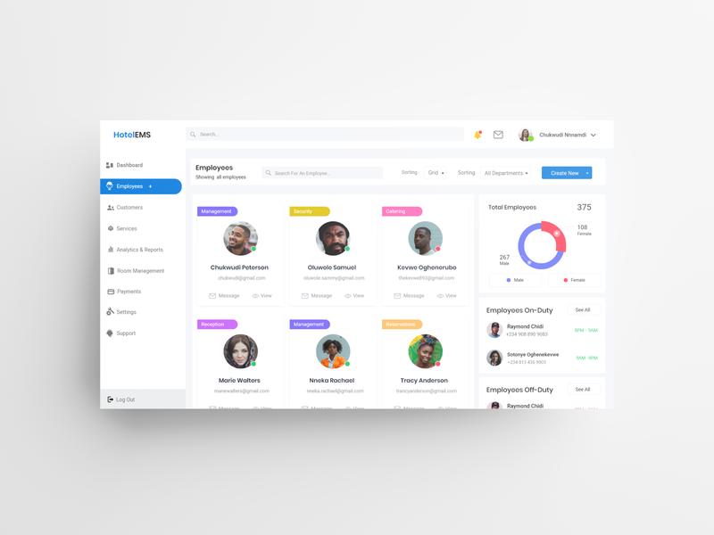 Hotel Management Web App Dashboard - (Employees) v1 dashboard design dashboard app dashboard ui dashboard uid web uxui ux ui design dailui