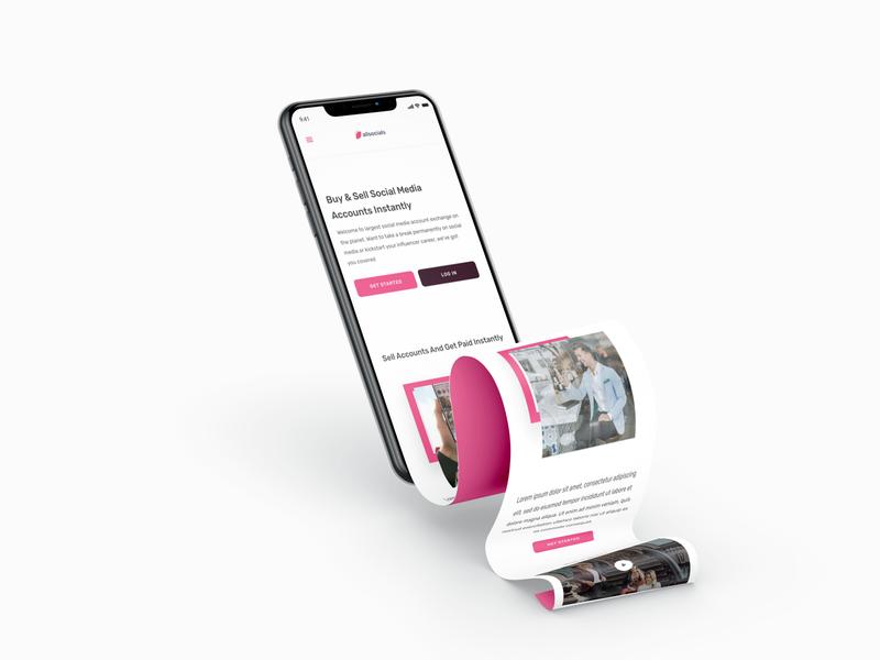 All Socials Mobile - Mock Up Preview web app app design shots 3d art responsive ios app android landing page uid web uxui ux ui design dailui branding