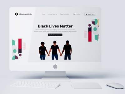 Black Lives Matter Redesigned Landing Page Concept pattern design ngo movement cause african american african black blacklivesmatter patterns illustration landing page ui landing page uid web uxui ux ui design dailui