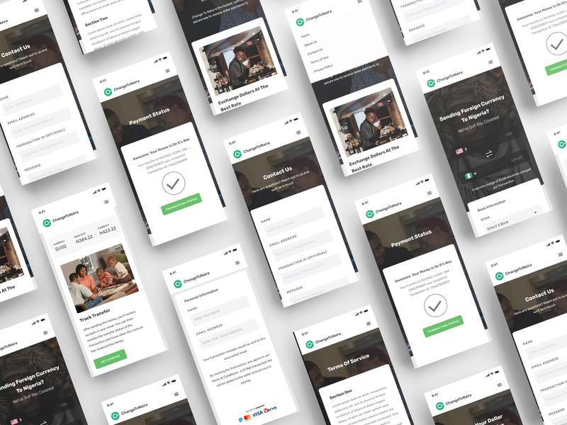 Change2Naira - A Currency Exchange Platform (Mobile) financial fintech landing page ui landing page uid web uxui ux ui design dailui
