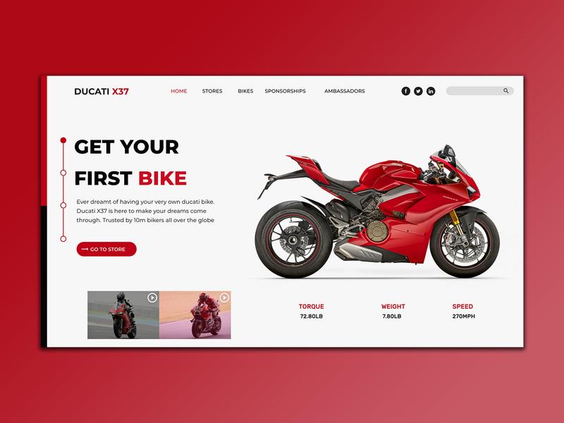 Bike Landing Page Concept Ducati By Michael Ajah Dribbble Dribbble