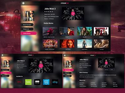 UI Design Concept For Movie Streaming Software