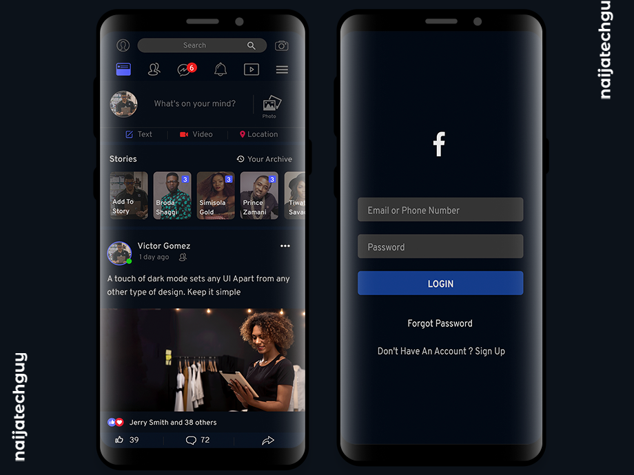 Dark Mode Design For Facebook Lite app simple lite ui8 facebook uxui ui social design dailui