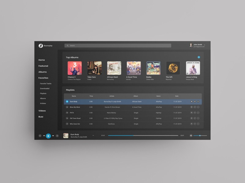 BoomPlay Music Desktop Design Concept-Dark
