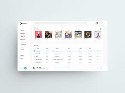 BoomPlay Music Desktop Design Concept - Light light concept playlists album artiste soundcloud itunes deezer music streaming music player music app streaming music uid web ui uxui ux design dailui