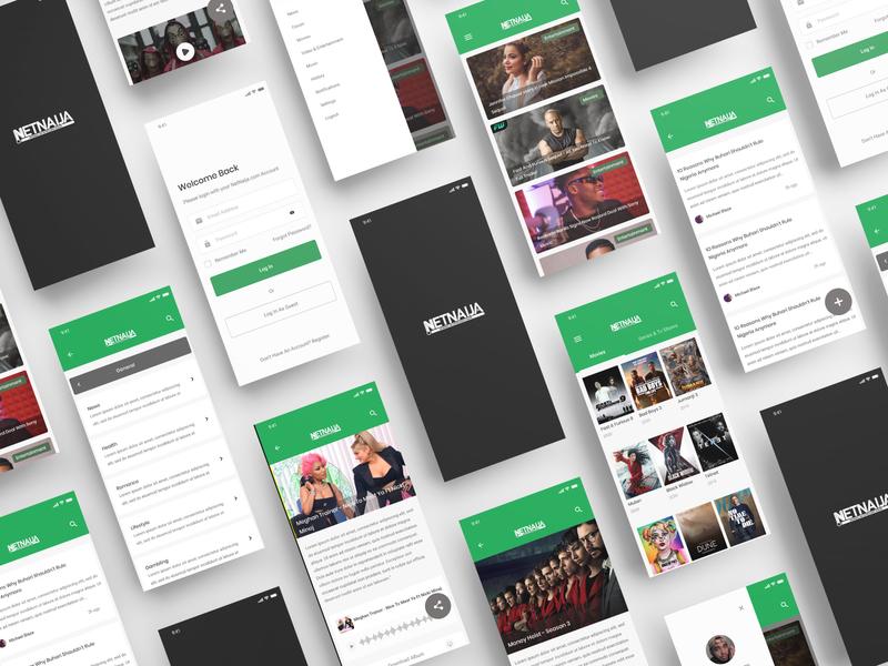 NetNaija Mobile App Design feed newsfeed news entertainment music movies ios app design netnaija uid ios app android app development android app design ios android uxui ux ui design dailui