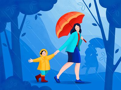 In the rain. website ux ui character flat child girl illustration vector rain