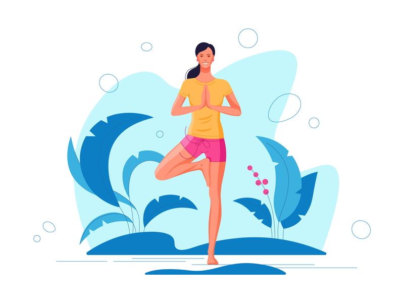 Yoga sport nature yoga park website ui girl design flat illustration vector