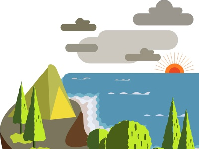 Camping At The Hill Above The Beach forest sea water outdoor river travel hiking nature adventure tourism landscape summer website flat vector icon ux design logo illustration