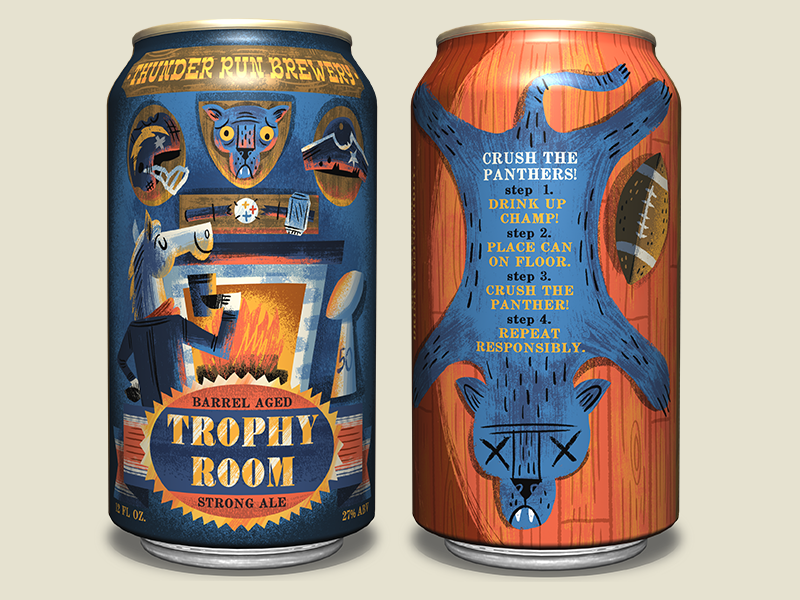 Trophy Room Strong Ale for designbrawl.com #SBDesignBrawl teamdenver sbdesignbrawl ale football denver super bowl broncos beer can identity packaging design craft beer illustration