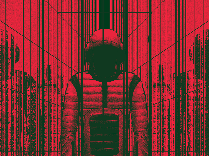 Beyond the Black Rainbow Poster distorted abstract figure mirrors sci-fi horror thriller movie film art poster design illustration