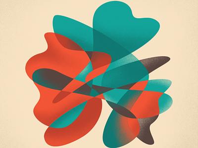 Blob grainy natural blue orange practice organic growth petals flower freeform blob design illustration abstract
