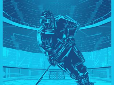Hockey art poster design activity vector illustration abstract impressionist rectangles canada blue stadium stick athlete player sports sport ice hockey