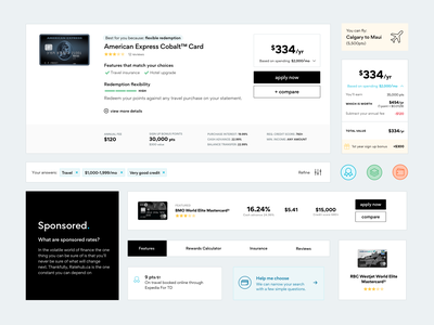 Credit Card Search - Design System finance credit card atomic elements styleguide design system