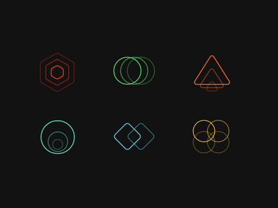 Geometric Shape Icons redesign minimalist icon set dark icon shapes abstract geometric