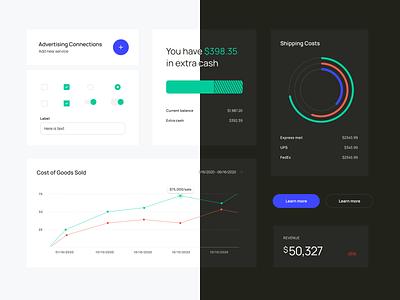 Data Visualization Components Design graphs charts theme dark finance app components ui finance analytics data dashboard