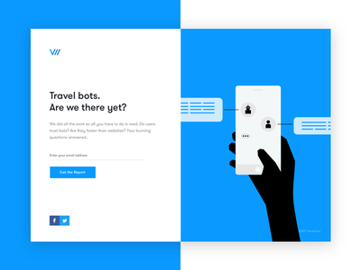 Travel Bots Research article ui bots self-promo landing page responsive ux research blue homepage editorial