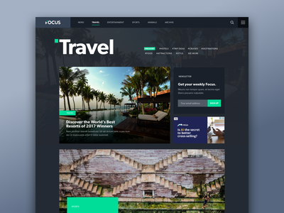News Channels - Colour Themes entertainment sports travel accent blog editorial dark ui photography theme