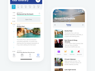 Resort Schedule - Mobile App android ios clean date calendar app mobile itinerary interface schedule