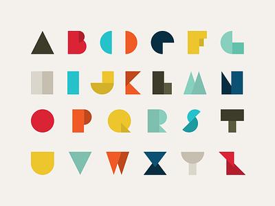 Geometric Alphabet midcentury typeface lettering minimalistic shapes geometric alphabet typogaphy