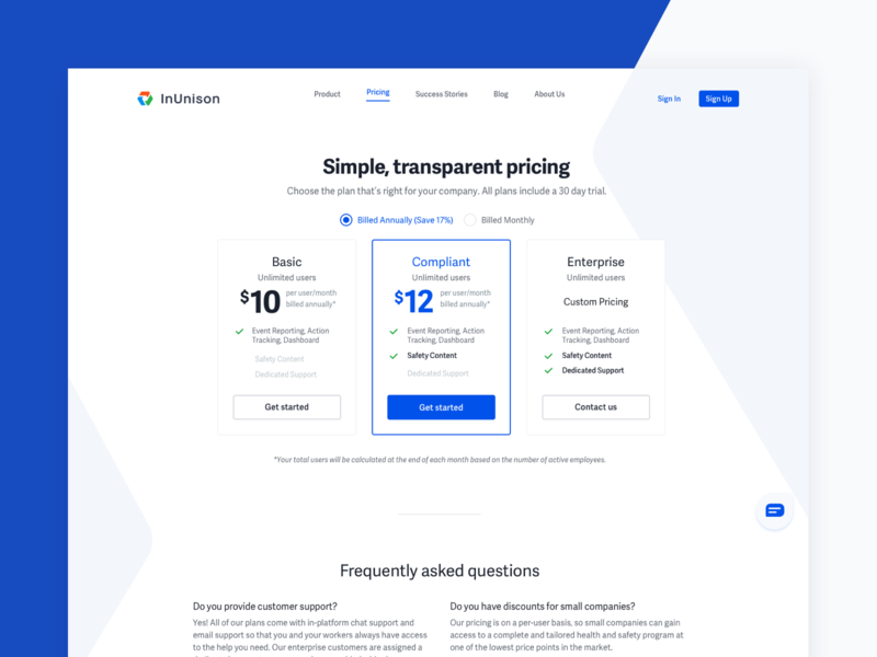 InUnison Pricing product plans pricing table pricing page pricing plan cards pricing