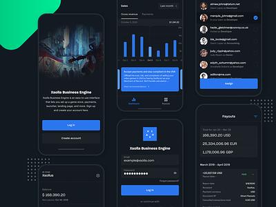 Xsolla Business Engine – App design ui login screen login startscreen xsolla revenue assign dashboard app dashboard mobile