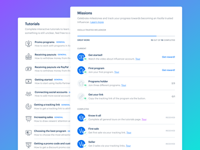 Tutorials & Missions for Xsolla Partner Network design dribbble get started onboarding tutorials missions xsolla ui ux achievements