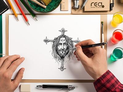 jesus crucifixion in Sketch