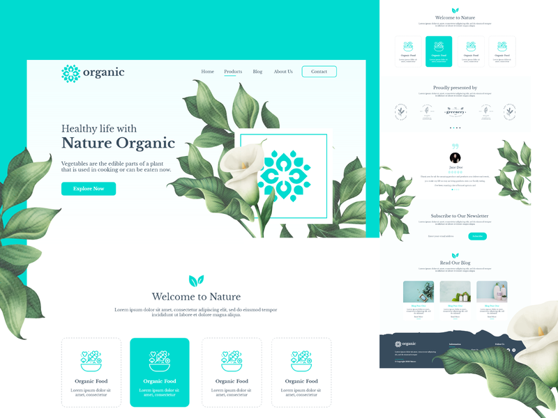 Organic Natural Health Adobe XD UI Kit graphic creative agency webdesign design creative product natural nature blue web web design xd adobe xd xd template free xd organic website
