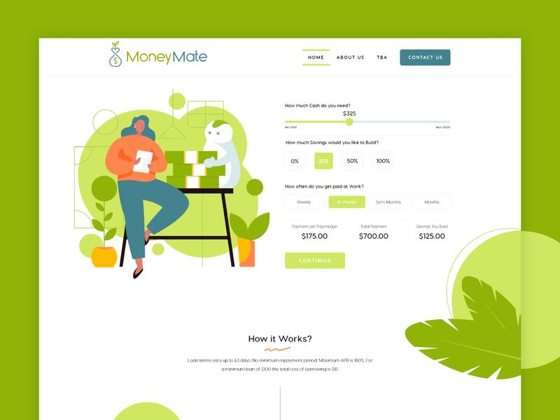 Finance Website Design adobexd webdesign web website creative growth green analytics funding loans creditscore cash debt payday credit loan savings financial money finance
