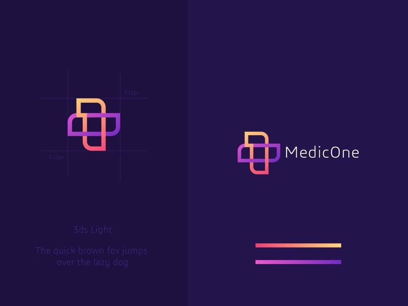 Medic One Logo vector branding logo creative agency logos creative interweave first healthcare health doctor minimal medicalcare cross favicon outline one medicine medical