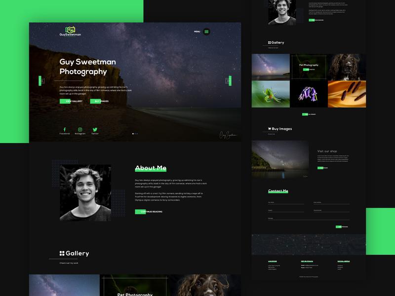 Photography website design design graphic photoshop dark website green ui web branding photographer photography webdesign website