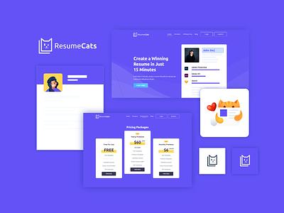 ResumeCats Website Design illustration graphic design app 404 logo branding ui ux designer web animal builder website resume cat cats purple webdesign