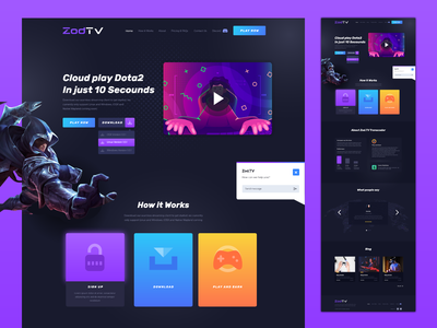 ZodTV Website Design colorful illustration graphic website design website ux ui gamingwebsite gamers play games cloudgaming cloud gaming