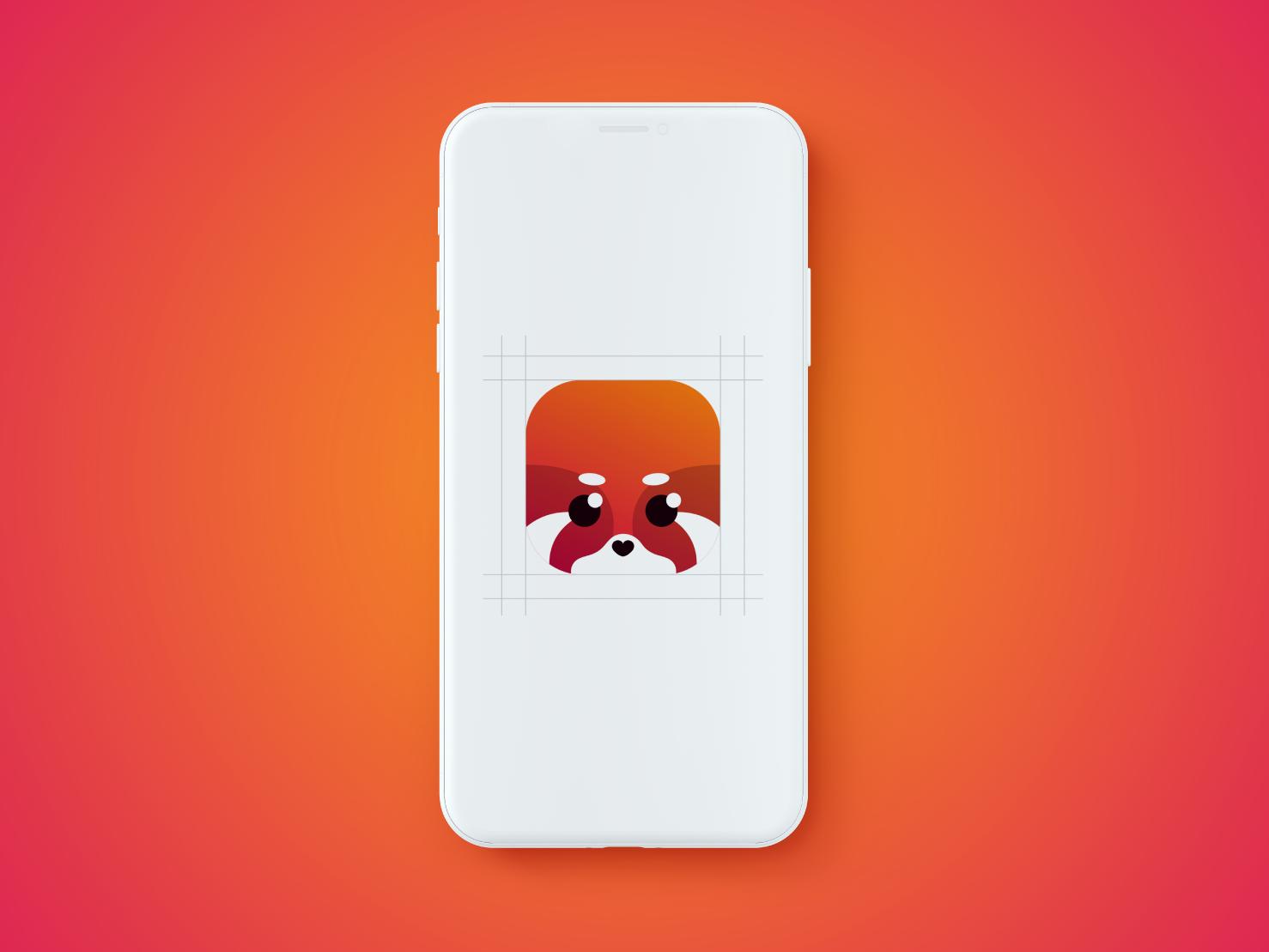 Red panda Icon phone app fox vector logo phone panda logo creative logo 3d red panda icon logo