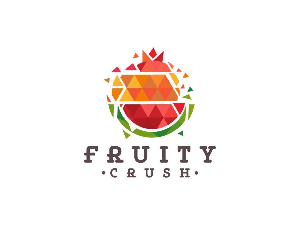 Fruity Crush logos fruit crush triangle fruits illustration graphic designer creative agency creative brand logo