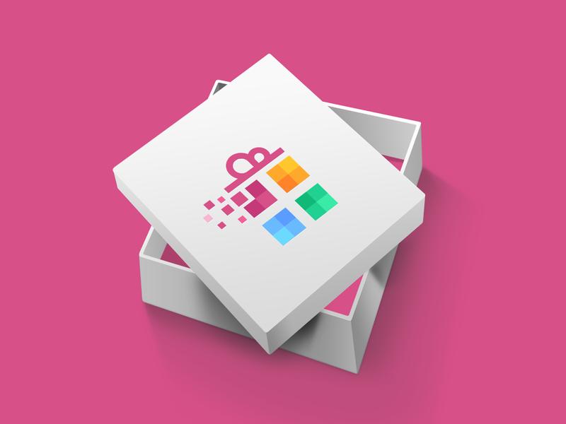 Pixell Gift Logo Design present gift box gif designer creative agency brand creative logo